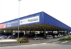 O governador Geraldo Alckmin, Inaugura o Terminal Metropolitano CECAP da EMTU, onde decerra a placa inaugural
